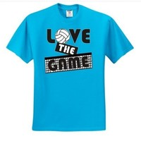 """Adult Cali Blue """"LOVE THE GAME"""" Volleyball T-Shirt"""