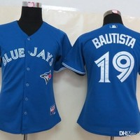 Blue Jays #19 Bautista Blue  Baseball jersey  Athletic & Outdoor Apparel Stitched Name and Logo Allow