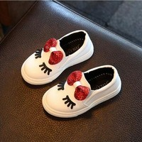 Girls sneakers spring 2018 new toddler children's baby white bowknot glitter casual soft flat shoes kids chaussure enfant 908