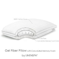 LinenSpa® Gel Fiber Pillow with Convoluted Memory Foam Core with Luxurious 300TC Cotton Cover - Standard