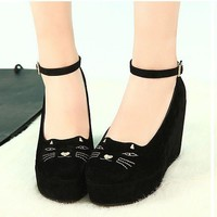 Lady Cute Sweet Cat Fashion Style Strap High Heels Platform Wedges Shoes Gift