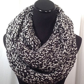White and Black Tweed Crochet Infinity Scarf