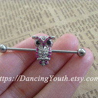 Owl industrial barbell, bird Industrial Barbell, piercing,industrial barbell earring jewelry,