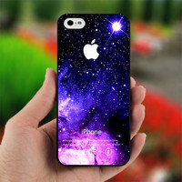 Purple Blue Galaxy Nebula Apple - print on hard cover for iPhone 4/4s and iphone 5 - dont forget to leave message for device and color case