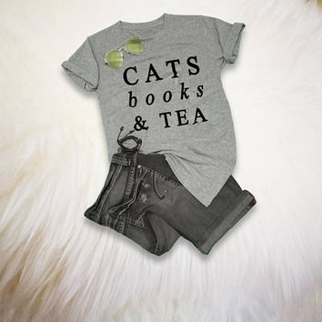 Cat Lover Gift Tumblr Cat Shirt Book Lover Shirt Gift Cat TShirt Reading Shirt Cats books tea Funny Cat T-Shirt Womens Cat Shirt