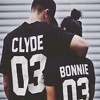 Summer Style Valentine Shirts Woman Cotton Bonnie/CLYDE 03 Funny Letter Print Couples Leisure Man Tshirt Short Sleeve tee shirt