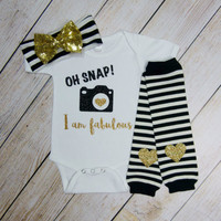 Baby Girl Clothes Black Gold Glitter Oh Snap I Am Fabulous Knotted Gold Bow Headband Gold Heart Leg Warmers Baby Girl Outfit Funny Baby Gift
