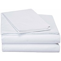 DaDa Bedding White Soft Fitted & Flat Bed Sheets w/ Pillow Cases Set (FSFS098765)