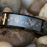 Tungsten Ring 7mm Black Beveled Antlers and Deer Tracks Lasered Design Sizes 5-15- FREE Inside Engraving