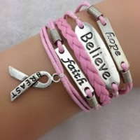 Hope Believe Faith Breast Cancer Awareness Bracelet