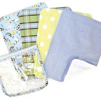 Trend Lab Baby Barnyard Zipper Pouch and 4 Burp Cloth Gift Set