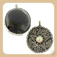Black Onyx Scrying Disk Necklace