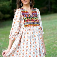 Umgee Taupe Mix Printed Baby Doll Tunic Dress
