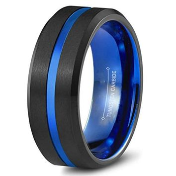 CERTIFIED 8mm Blue and Black Tungsten Carbide Wedding Band