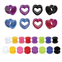 24PCS Ear Gauges 00G Plugs Stretching Kit Multi-Color Heart Ear Tunnels (10mm)
