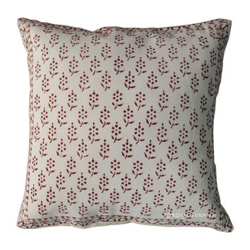White Hand Block Decorative Accent Floral Throw Pillow Case