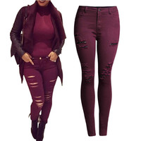 Killer Cranberry High Waisted Ripped Skinny Jeans