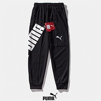 PUMA New fashion letter print couple sports leisure pants Black