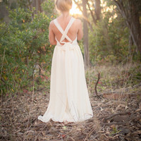 Bohemian Tie Back Chiffon Wedding Dress-Tullin