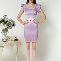 Purple Lotus Sleeve Sheath Bodycon with Belted Dress
