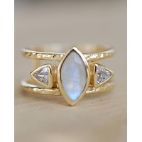 Suzany Ring * Moonstone & White Topaz * Gold Vermeil * BJR149