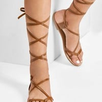 Lace Up Knee High Gladiator Sandal Boots
