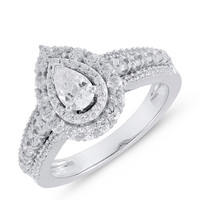 double halo pear ready for love diamond engagement ring Steven Singer Jewelers