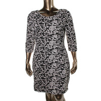 BB Dakota Womens Plus Floral Print Jacquard Wear to Work Dress