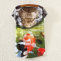 White Cat And Fish Print T-Shirt