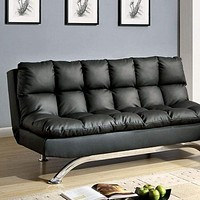 Aristo Futon Sofa Contemporary Style, Black By Casagear Home