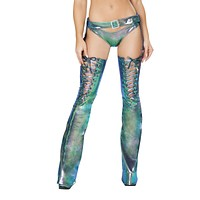 Holographic Turquoise Rave Chaps with Lace Up Details