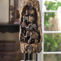 CARVED ELEPHANT TOTEM DECOR