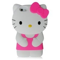 Hello Kitty 3D Silicone Case Cover for New Iphone 5 Xmas gift, Rose Red