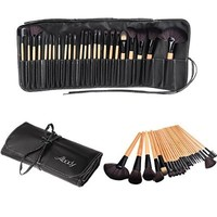 Abody Wood 24Pcs Makeup Brushes Kit Professional Cosmetic Make Up Set + Pouch Bag Case Black