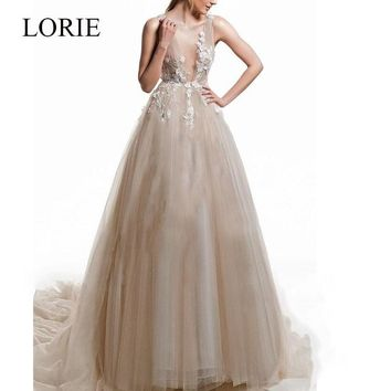 LORIE A Line Lace Wedding Dress 2019 V Neck Appliques See Through Back Wedding Gown with Buttons Pincess Vintage Bridal Gown