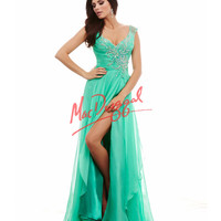 Cassandra Stone by Mac Duggal 64996A Plunging V-Neck Teal Gown Prom 2015