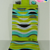 Women's Wallet Organizer with Card Slots - 2 in 1 - Gray, Green and Blue Waves