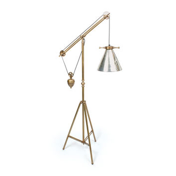Go Home Weighted Floor Lamp with Antique Silver Glass Shade - 15807ESQ