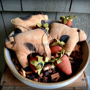 Strawberries And Cream Bowl Fillers Primitive Cows and Fruit Stash Abouts Rustic Decoration For Spring and Summer