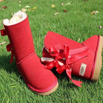 UGG:: bow leather boots boots in tube-3