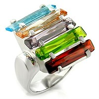 Cute Rings 6X007 Rhodium Brass Ring with AAA Grade CZ
