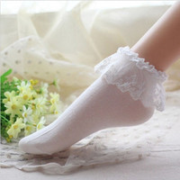 2016 Fashionable Lovely Cute Fashion Women Vintage Lace Ruffle Frilly Ankle Socks Lady Princess Girl Favorite 5 Color Available