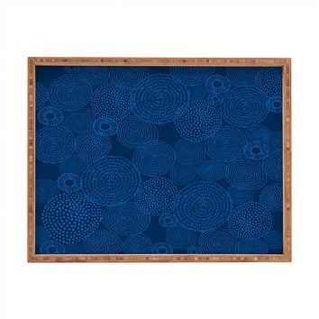 Camilla Foss Circles In Blue I Rectangular Tray