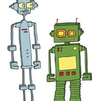 Retro Robots 8 x 10 Modern Art Print, boys room decor, print for BABY - available in different sizes