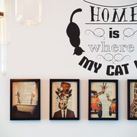 Home is where MY CAT IS  Vinyl Wall Decal - Removable (Indoor)