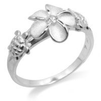 Sterling Silver Plumeria and Turtle Ring with Clear CZ and Satin Finish