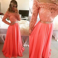 Elegant Women Long Dress Party Waist Dress = 1931934020