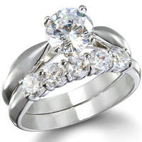 Sterling Silver 1.25 carat Round Cut CZ Five Stone Wedding Ring set size 5-9