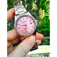 Free shipping-Rolex simple tide brand fashion quartz watch Silver+pink