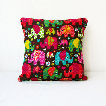 Elephant cushion cover, small 12 inch pillow cover, colourful animal print pillow, kid's room decor, small throw pillow, handmade in the UK